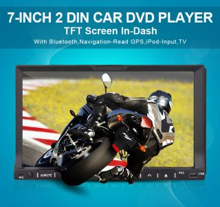 GPS HD 7'' 2 DIN Navigation TV USB SD iPod Radio Car DVD CD Player Stereo Camera