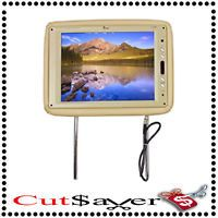 "TView T120PLTN 12"" Tan Car Headrest Widescreen TFT LCD Monitors w Remotes New"