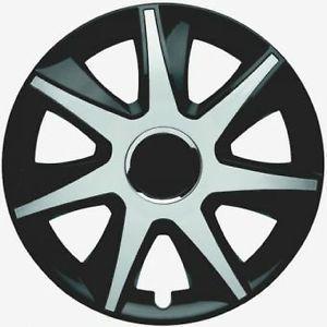 Set of 4 New European Plastic Wheel Covers for 16 Steel Wheels Black Silver