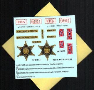 1 25 Police Cop Car Law Hazzard County Sheriff Decal Sheet Rebel Flag Plate Star