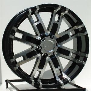 20 inch Black Wheels Rims Chevy GMC Sierra 6 Lug 1500 Truck Avalanche Yukon Helo