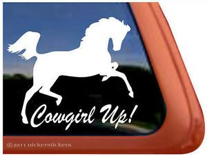 Cowgirl Up Arabian Horse Trailer Decal Sticker