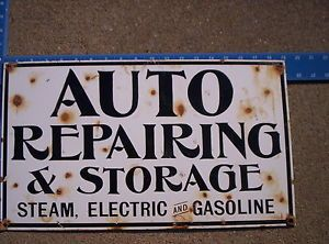 Auto Repair and Storage Porcelain Sign Gas Pump Oil Can Lube Lubester