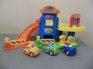 Toy Parking Garage Car Wash Ramp Elevator Sounds Gas Pump Plastic Playset 3 Cars