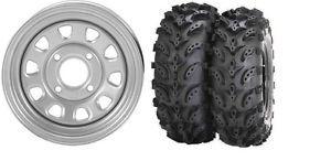 "Yamaha Big Bear Bruin Wolverine 350 400 ITP Steel Silver Wheels 25"" Swamp Lite"