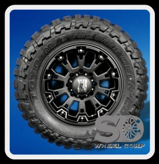 """18"""" XD800 Misfit Black Rims with 33x12 50x18 Toyo Open Country MT Wheels Tires"""
