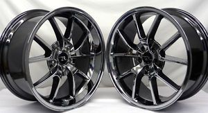 "Black Chrome Mustang FR500 Wheels 20x8 5 20x10 2005 20"" inche Deep Dish Rims"