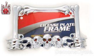 New Chrome Motorcycle License Plate Frame Skulls Flames