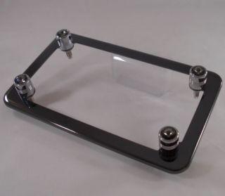 Black Chrome Motorcycle License Plate Frame Smoke Swarovski Crystal Gem Bolts