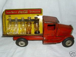 Vintage Metal Truck 1930's Coca Cola Coke w Bottles Caps Metalcraft Toy RARE