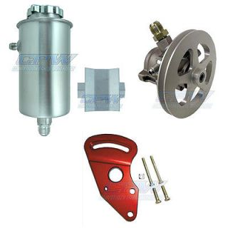 New SBC V Belt Racing Power Steering Pump Kit w Reservoir Tank Block Mount