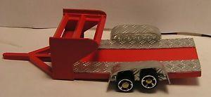 1 64 Red Custom Modified Dirt Late Model Race Car Hauler Trailer Tire Rack