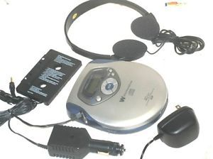 Nice White Westinghouse Portable CD Player AC Car Cassette Adapter Case