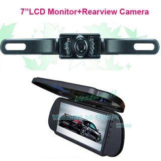 "7""LCD Color Car Mirror Monitor Waterproof IR Reverse Car Rearview Backup Camera"