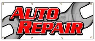 "36""x96"" Auto Repair Banner Sign Car Shop Mechanic Tools Signs Brakes Shocks"
