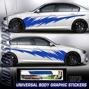 Universal Fit Blue Lightning Style Auto Car Racing Body Graphic Decal Sticker