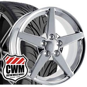 """17x9 5"""" C6 Corvette Style Chrome Wheels Rims Tires Fit C4 Corvette 1986"""