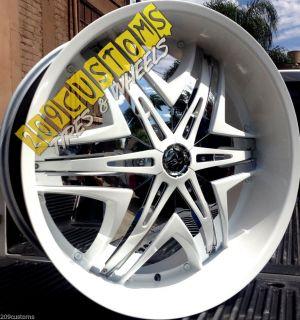 "26"" inch Wheels Rims Tires Diablo Elite White 5x115 Chrysler 300 2010 2011 2012"