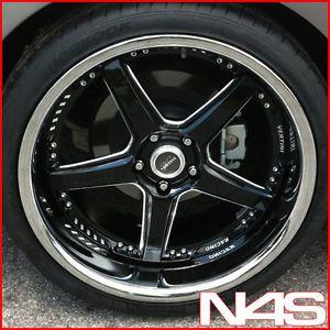 """Brand New 20"""" Nissan 370Z Vertini Drift Black Staggered Wheels Rims"""