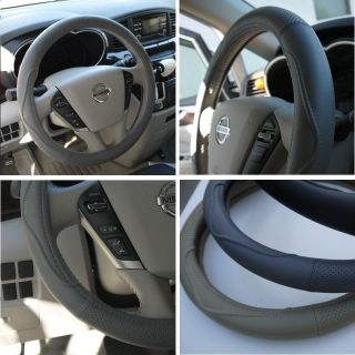 Leather Steering Wheel Cover 57002 Grey Gray Hummer Fiat Car Needle Thread 14 15