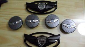 "2013 Hyundai Genesis Coupe Black Emblem 18"" 19"" Wheel Caps Trunk Grill 2 0 T 3 6"