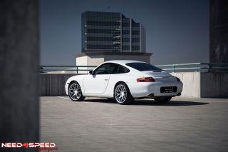 "19"" Ruger Mesh Concave Silver Wheels Rims Tires Fits Porsche 911 997 Turbo Wide"