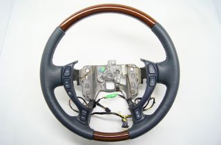 Cadillac 2000 2005 DeVille Seville Steering Wheel Blue Leather Wood Grain Audio