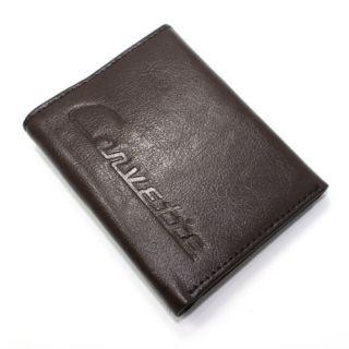 Premium Chevy Corvette C1 Emblem Logo Trifold Brown Genuine Leather Men's Wallet
