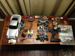 Tamiya Porsche 959 Rally Large Lot Parts Repair Futaba Remote Control Car Old