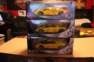 3 New Old Stock Hotwheels Lamborghini Diablo GTR Race Cars Giallo Yellow