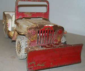 Vintage Tonka Truck Jeep with Snow Plow Parts Repair Pressed Steel