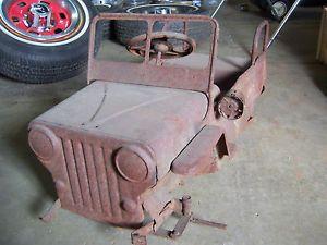 Vintage Jeep Pedal Car Fire Truck Shell Antique Parts Restore