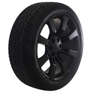 """Chevy Silverado Tahoe Avalanche 22"""" Inchblack Wheels Rims and Tires Package"""