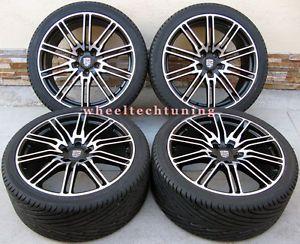 "20"" Porsche Cayenne Sport Edition Style Wheels and Tires Black Machine Face"