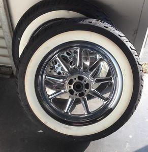 Harley 9 Spoke Chrome Wheels for Harley Ultra Classic w Tires FLHT FLH Baggers