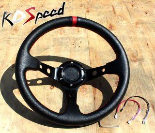 "Black 320mm 32cm 6 Hole Bolt Universal 3"" Deep Dish Drift Racing Steering Wheel"