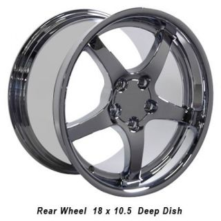 "18"" 9 5 10 5 Chrome C5 Deep Dish Wheels Rims Fit Camaro Corvette"