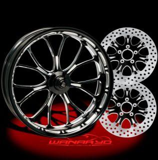 Black Performance Machine Heathen Wheels Rotors Pulley Tires Harley Vrod
