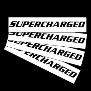Hot Supercharged Window Decal Black 4 Pack Stickers