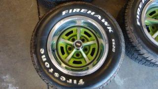 "Chevy Vintage Oldsmobile Cutlass 14"" Rally Wheels Firestone Firehawk Tires"