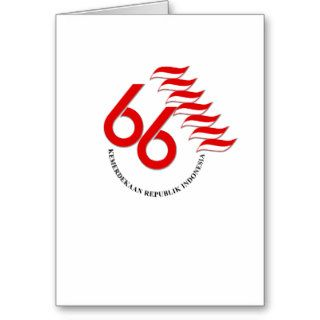 Indonesia 66 Tahun Greeting Cards
