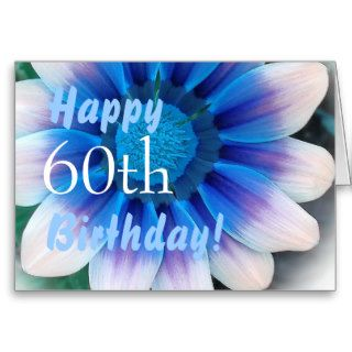 HAPPY 60th  BIRTHDAY  with Magic Blue Flower Cards