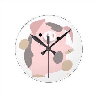 Cute Cartoon Dancing Pig Clock