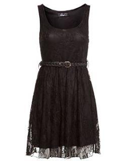 Te Amo Black Lace Belted Skater Dress