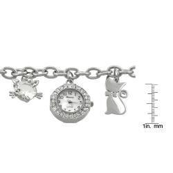 Geneva Platinum Women's Cat Charm Bracelet Watch Women's Geneva Watches