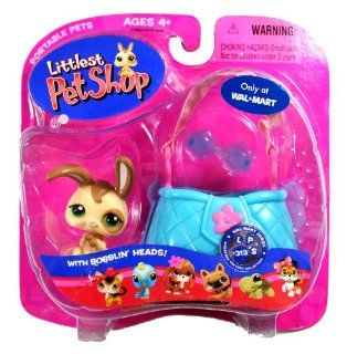 "Hasbro Year 2007 Littlest Pet Shop Portable Pets Exclusive ""Wal Mart"" Series Bobble Head Pet Figure Set #313   Tan Bunny Rabbit with Sunglasses and Cozy Carrier (22980): Toys & Games"