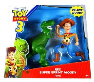 """Mattel Year 2009 Disney Pixar """"Toy Story 3"""" Movie Series 2 Pack 7 Inch Tall Deluxe Action Figure   REX and SUPER SPRINT WOODY (V7114) Toys & Games"""