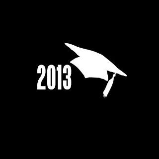 "2013 Graduation Cap Car Window Decal Sticker 4"" White: Automotive"