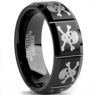 Tungsten Carbide Black plated Laser etched Skull Design Ring (8 mm) Men's Rings