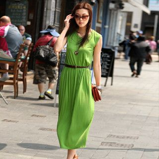 Sleeveless Pleated Maxi Dress (Belt not Included), Green , One Size   SO Central